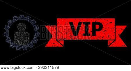 Mesh Polygonal Customer Setup Gear On A Black Background, And Vip Rubber Ribbon Seal Imitation. Red
