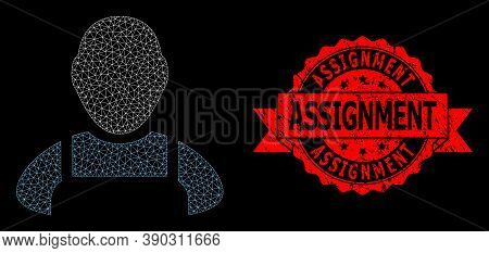 Mesh Web Worker On A Black Background, And Assignment Corroded Ribbon Stamp Seal. Red Stamp Seal Inc