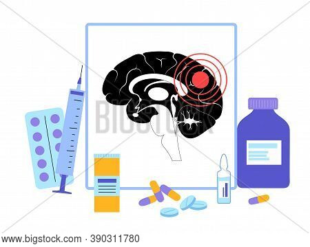 Pain, Cancer Or Inflammation In The Brain. Logo For Neurology Clinic. Tumor Or Infection In Human Br