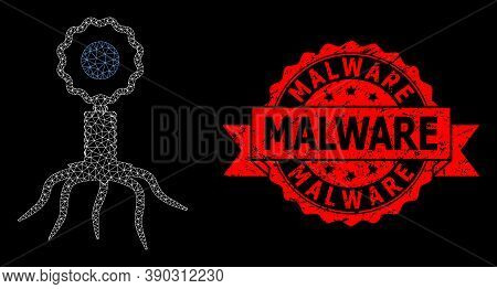 Mesh Net Virus Cell On A Black Background, And Malware Grunge Ribbon Stamp Seal. Red Stamp Seal Cont