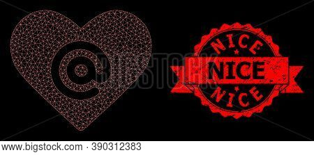 Mesh Net Dating Heart Address On A Black Background, And Nice Unclean Ribbon Seal. Red Stamp Has Nic
