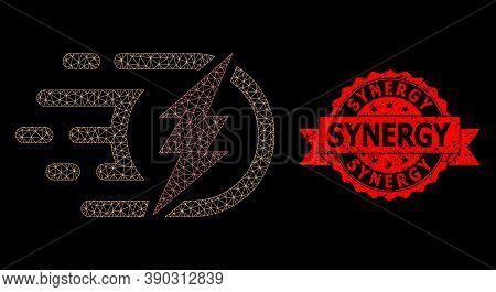 Mesh Net Electrical Charge On A Black Background, And Synergy Grunge Ribbon Seal Print. Red Stamp Se