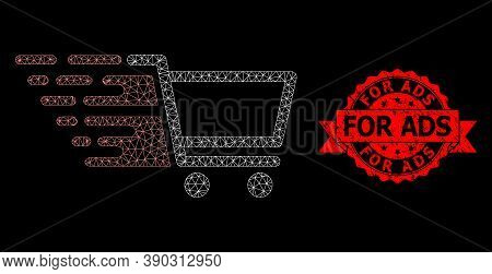 Mesh Network Shopping Cart On A Black Background, And For Ads Unclean Ribbon Seal Print. Red Seal In