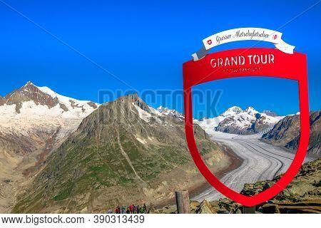 Eggishorn, Canton Of Valais, Switzerland - August 6, 2020: Hot Spot Grand Tour Of Switzerland At Top