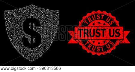 Mesh Network Dollar Shield On A Black Background, And Trust Us Rubber Ribbon Seal Print. Red Seal In