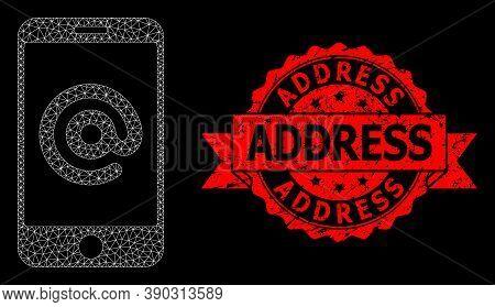 Mesh Polygonal Smartphone Address On A Black Background, And Address Grunge Ribbon Stamp. Red Stamp