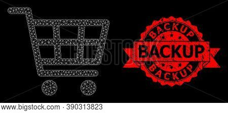 Mesh Net Shopping Cart On A Black Background, And Backup Textured Ribbon Seal Imitation. Red Seal Co