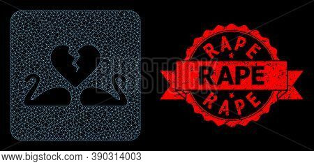 Mesh Polygonal Divorce Swans On A Black Background, And Rape Corroded Ribbon Stamp Seal. Red Stamp S