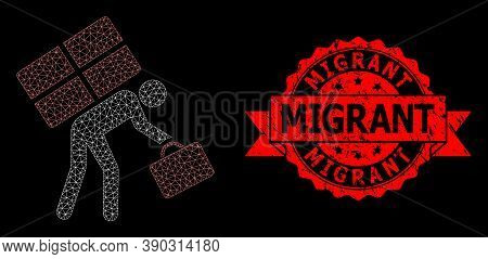 Mesh Web Refugee Person On A Black Background, And Migrant Unclean Ribbon Stamp Seal. Red Stamp Seal