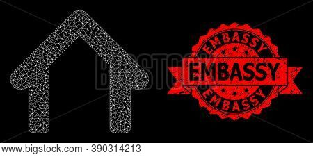 Mesh Polygonal Garage On A Black Background, And Embassy Unclean Ribbon Stamp Seal. Red Stamp Includ