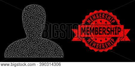 Mesh Polygonal Spawn Persona On A Black Background, And Membership Rubber Ribbon Seal Imitation. Red