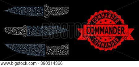 Mesh Polygonal Knives On A Black Background, And Commander Dirty Ribbon Stamp Seal. Red Stamp Seal H
