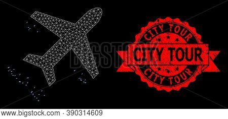 Mesh Web Flying Air Liner On A Black Background, And City Tour Scratched Ribbon Stamp Seal. Red Stam