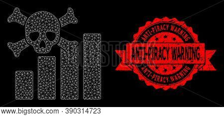 Mesh Polygonal Death Chart On A Black Background, And Anti-piracy Warning Dirty Ribbon Seal. Red Sta