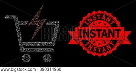 Mesh Polygonal Instant Shopping On A Black Background, And Instant Textured Ribbon Seal. Red Seal Ha