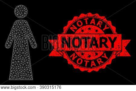 Mesh Net Woman On A Black Background, And Notary Corroded Ribbon Seal. Red Stamp Seal Includes Notar