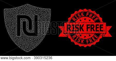 Mesh Polygonal Shekel Guard On A Black Background, And Risk Free Rubber Ribbon Seal Imitation. Red S
