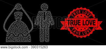 Mesh Net Marriage Persons On A Black Background, And True Love Dirty Ribbon Stamp. Red Stamp Seal In