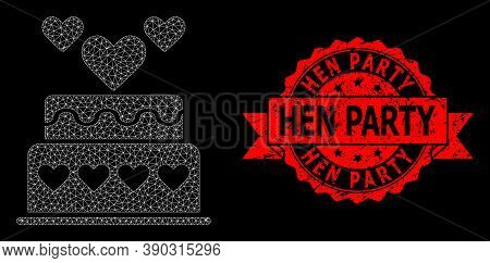 Mesh Network Marriage Cake On A Black Background, And Hen Party Corroded Ribbon Seal Imitation. Red