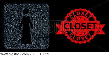 Mesh Network Lady On A Black Background, And Closet Corroded Ribbon Stamp Seal. Red Stamp Seal Has C