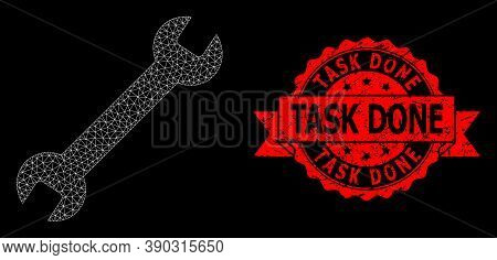 Mesh Polygonal Wrench On A Black Background, And Task Done Dirty Ribbon Seal Imitation. Red Stamp Se