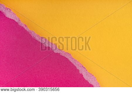 Pieces Of Torn Ragged Purple Paper Edges On Yellow Background. Ripped Cracked Paper Edge Isolated Wi