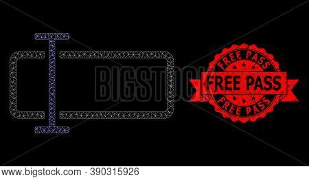 Mesh Net Text Field On A Black Background, And Free Pass Unclean Ribbon Stamp Seal. Red Stamp Seal H