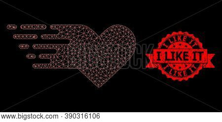 Mesh Network Valentine Heart On A Black Background, And I Like It Dirty Ribbon Stamp. Red Stamp Incl