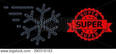 Mesh Network Frost Wind On A Black Background, And Super Dirty Ribbon Stamp Seal. Red Seal Includes