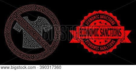 Mesh Web Forbidden T-shirt Clothes On A Black Background, And Economic Sanctions Corroded Ribbon Sta