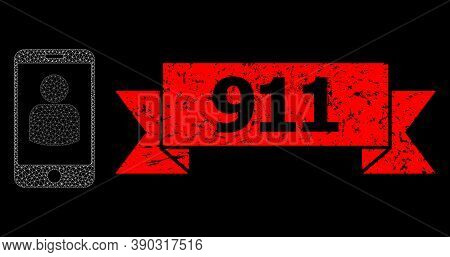 Mesh Polygonal Smartphone User On A Black Background, And 911 Rubber Ribbon Seal. Red Seal Includes