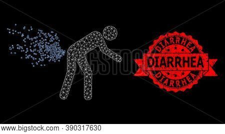 Mesh Network Farting Person On A Black Background, And Diarrhea Textured Ribbon Seal Imitation. Red