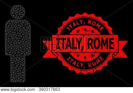 Mesh Net Person On A Black Background, And Italy, Rome Grunge Ribbon Stamp Seal. Red Stamp Includes