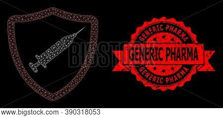 Mesh Net Vaccine Shield On A Black Background, And Generic Pharma Rubber Ribbon Watermark. Red Stamp
