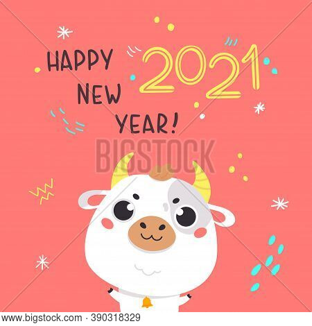 Cute Cartoon Ox With Lettering. Design For Greeting Cards, Stickers, Banners, Prints. Xmas Card. Mer