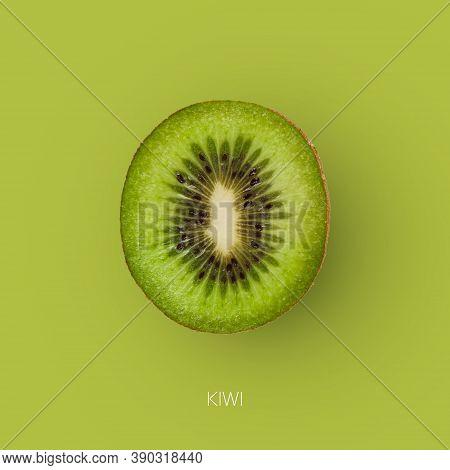One Fresh Ripe Kiwi Fruit Isolated On Green Background. Closeup Image Of Cut Kiwifruit Half. Square