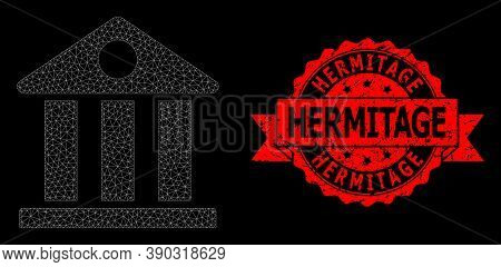 Mesh Net Museum On A Black Background, And Hermitage Dirty Ribbon Stamp Seal. Red Stamp Includes Her