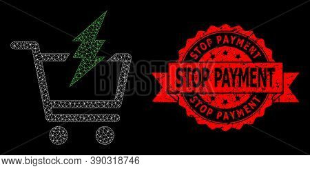 Mesh Polygonal Proceed Purchase On A Black Background, And Stop Payment Unclean Ribbon Stamp Seal. R