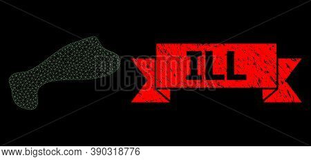 Mesh Polygonal Spot On A Black Background, And Ill Corroded Ribbon Stamp. Red Stamp Seal Contains Il