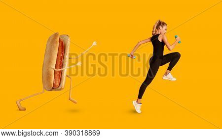 Weight Loss. Determined Fitness Lady Running Away From Hotdog Exercising Losing Weight Over Yellow S