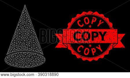 Mesh Polygonal Cone Figure On A Black Background, And Copy Rubber Ribbon Seal. Red Stamp Seal Contai