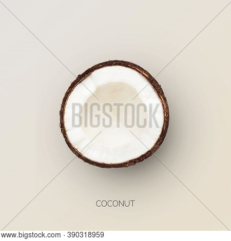 Coconut Half Isolated Over White Background. Closeup Top View Image Of Halved Coco Nut. Healthy Nutr
