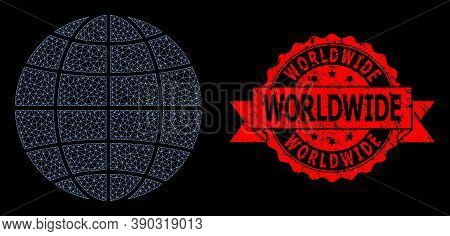 Mesh Net Globe On A Black Background, And Worldwide Scratched Ribbon Stamp Seal. Red Stamp Seal Incl