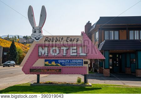 Steamboat Springs, Colorado - September 20, 2020: Vintage Retro Neon Sign For The Rabbit Ears Motel,