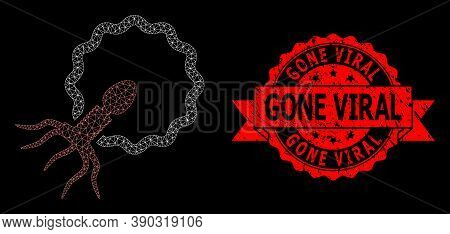 Mesh Network Virus Penetrating Cell On A Black Background, And Gone Viral Textured Ribbon Stamp. Red