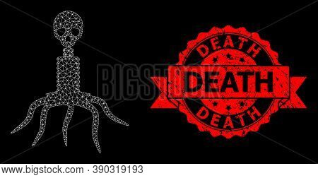 Mesh Network Death Virus On A Black Background, And Death Grunge Ribbon Seal Imitation. Red Seal Has