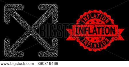 Mesh Polygonal Enlarge Arrows On A Black Background, And Inflation Dirty Ribbon Seal. Red Stamp Seal