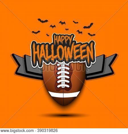 Happy Halloween Pattern. Football Template Design. Football Ball And Bat. Design Pattern For Banner,