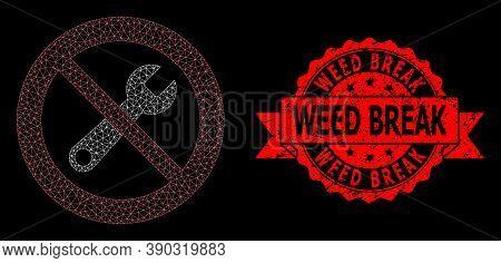 Mesh Net Stop Repair On A Black Background, And Weed Break Unclean Ribbon Stamp Seal. Red Stamp Seal