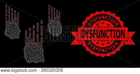 Mesh Web Falling Rocks On A Black Background, And Dysfunction Dirty Ribbon Stamp Seal. Red Stamp Sea
